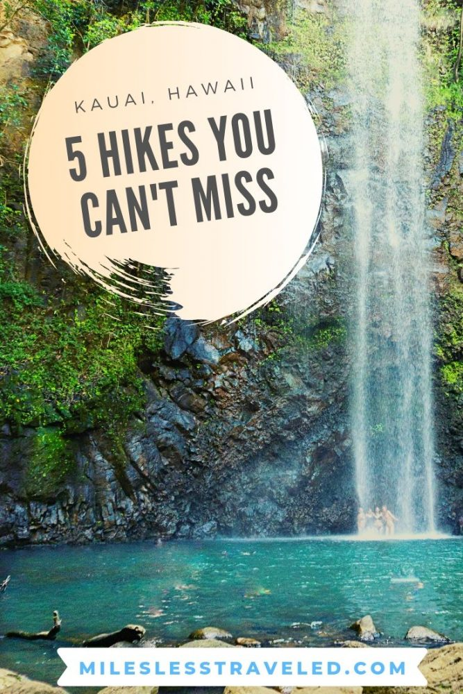 5 Hikes You Can't Miss in Kauai Hawaii text overlay waterfall and turquoise pool