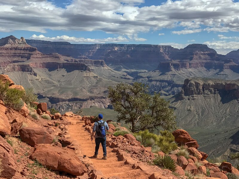 Man hiking Kaibob trail Arizona