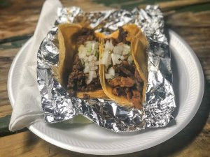 Two tacos from Las Trancas on plate