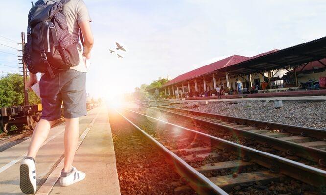 Backpacking along train tracks