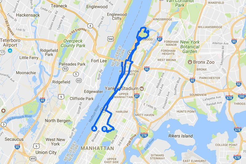 Map of a 20 mile Running Route in Manhattan