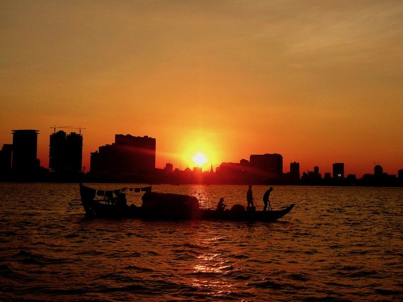 Phnom Penh City Sunset on the Mekong River