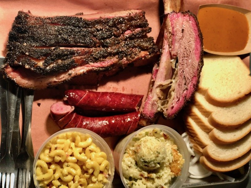 Texas BBQ plate with sides and bread