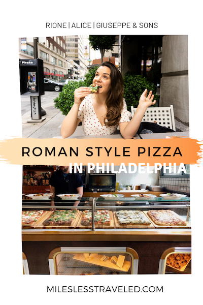 Woman eating pizza and pizza display