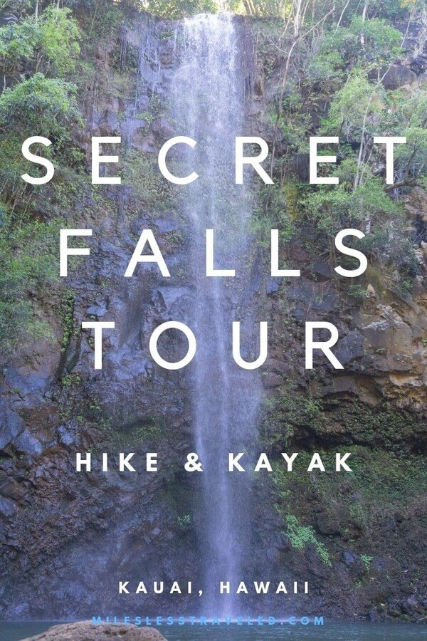 waterfall with text overlay secret falls tour hike & kayak