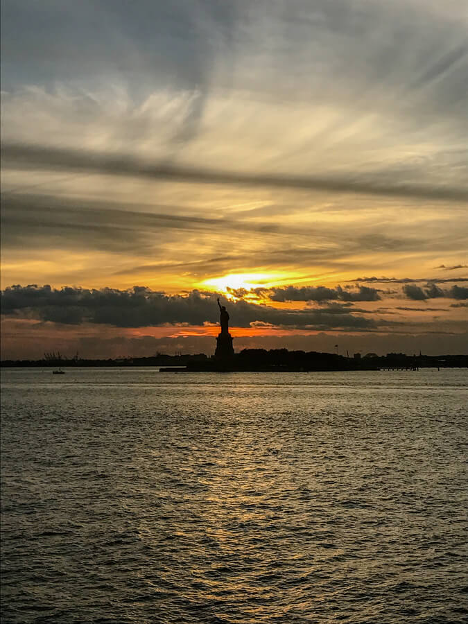 View of the Statue of Liberty at Sunset