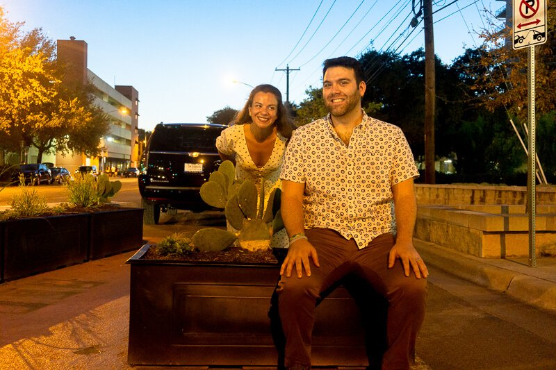 Couple with cactus in Austin