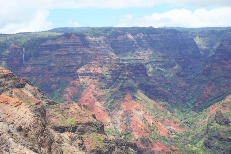 layered brown and green colors on Waimea Canyon in Kauai