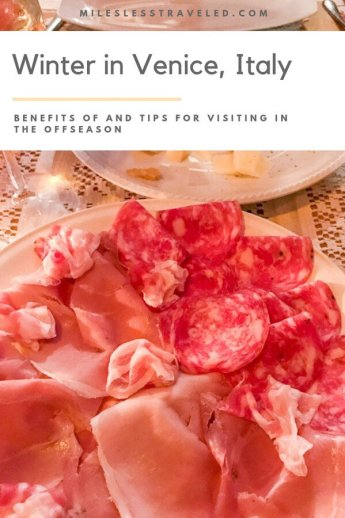 Plate of Cured Meats with text overlay Winter in Venice Italy