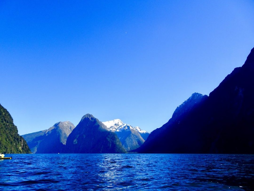Viems from kayaking Milford Sound