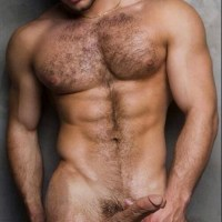 Hairy nude with cut cock