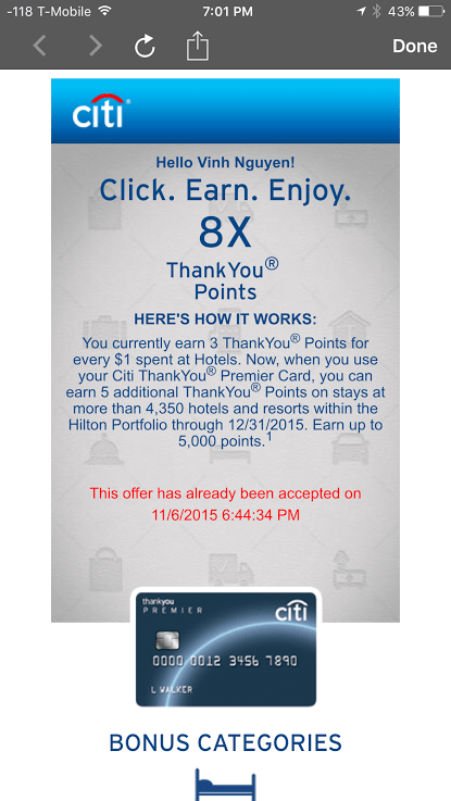 Citi Premier Extra 5x Thank You Points At Hilton 8x Total
