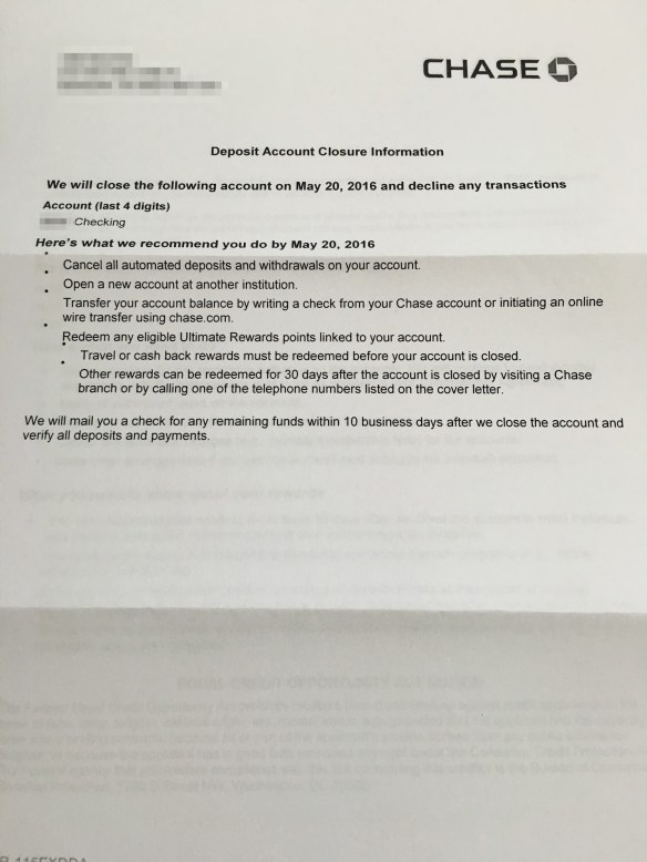 What a Chase shutdown letter looks like - Miles per Day