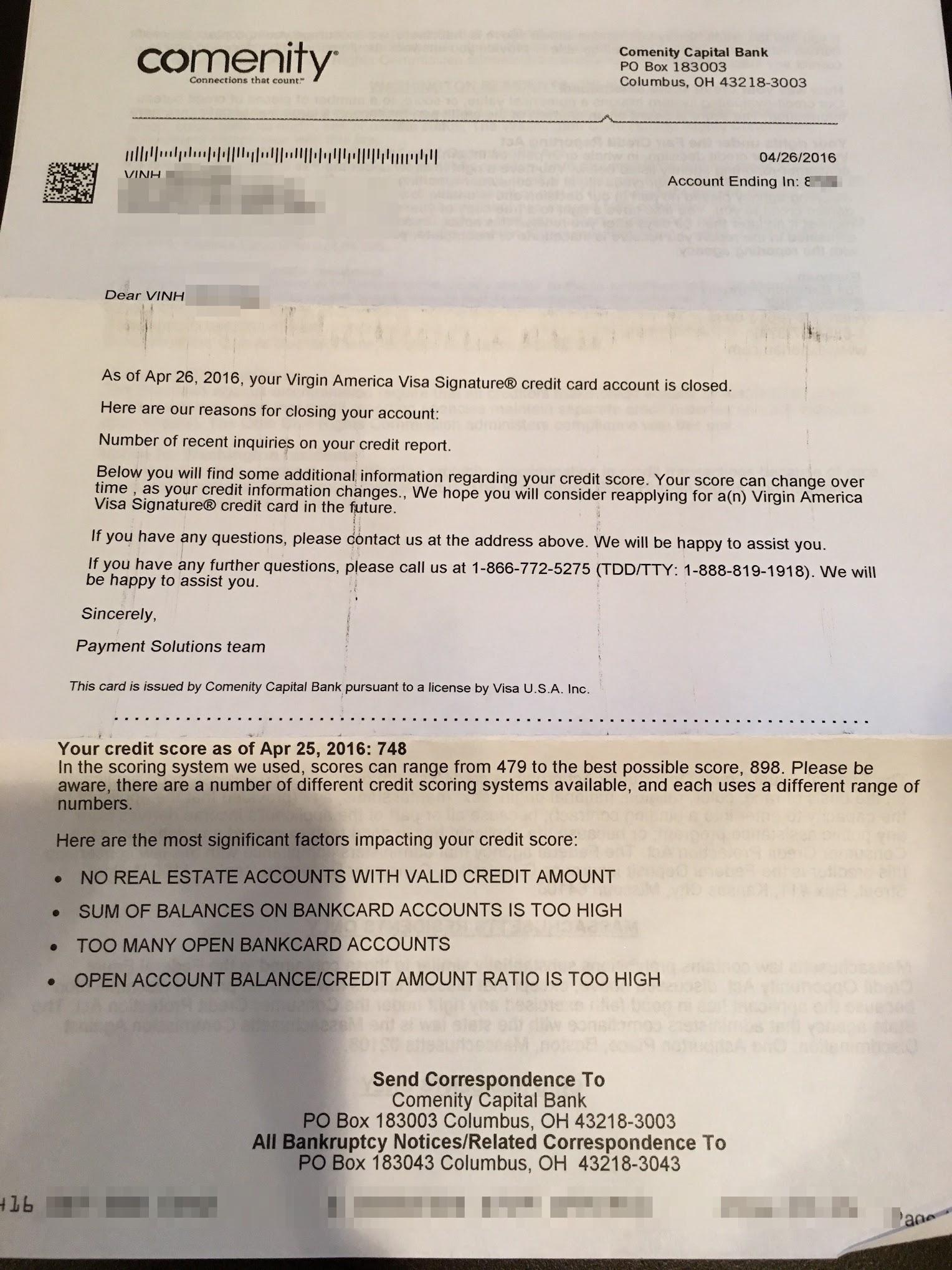 My Comenity Bank shutdown letter - Miles per Day