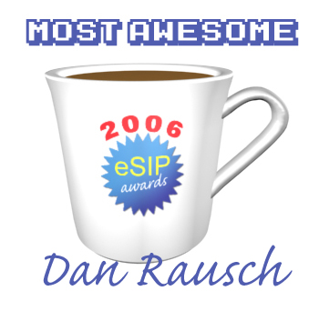A graphic depicting a coffee cup as the 2006 eSIP Award for Most Awesome