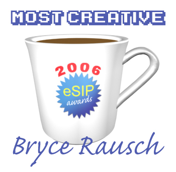 A graphic depicting a coffee cup as the 2006 eSIP Award for Most Creative