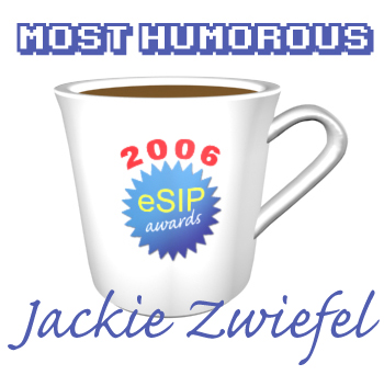 A graphic depicting a coffee cup as the 2006 eSIP Award for Most Humorous