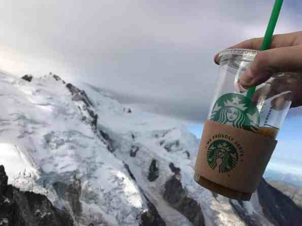 When you want to keep your @Starbucks ice cold, you sip it on top of the highest mountain peak in Europe, over 4,000 meters up, on Mont Blanc.