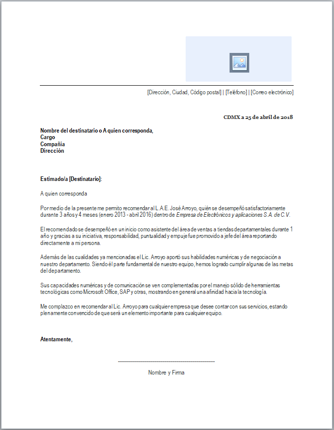 Carta De Recomendación Laboral Formatos Y Ejemplos Word