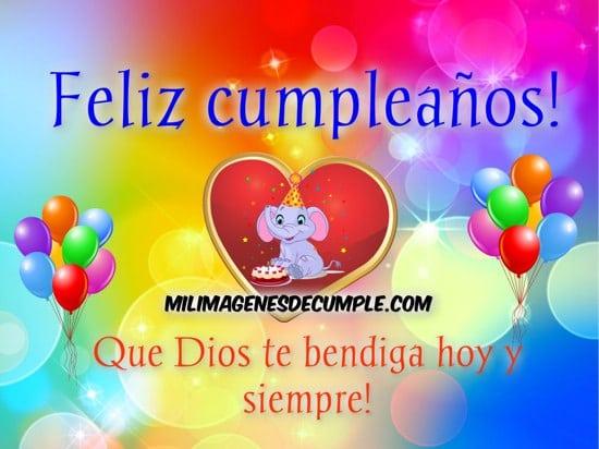 imágenes de cumpleaños con dibujitos y la frase dios te bendiga