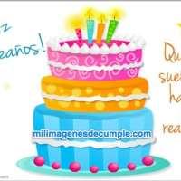 Imagen de feliz cumpleaños con pastel y frase