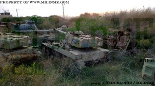 Lebanese Army Staghound, AMX-13/105 and M48A1 wrecks