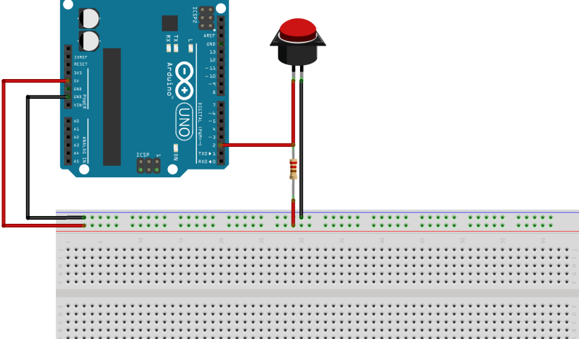 arduino button with pull up