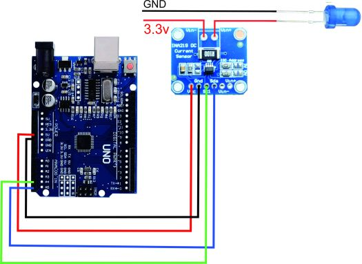 INA219 current sensor wiring with arduino and LED as a load