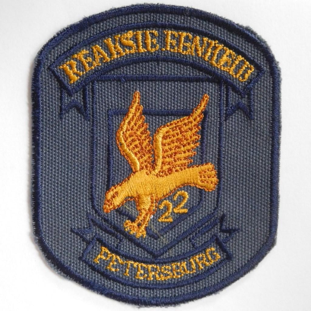 SAP South Africa Police 22 Reaction Unit PETERSBURG Arm Cloth Badge BLUE