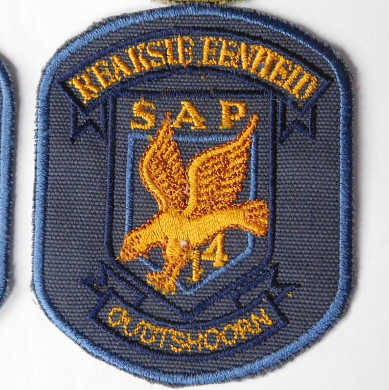 SAP South Africa Police 14 Reaction Unit OUDTSHOORN Arm Cloth Badge BLUE