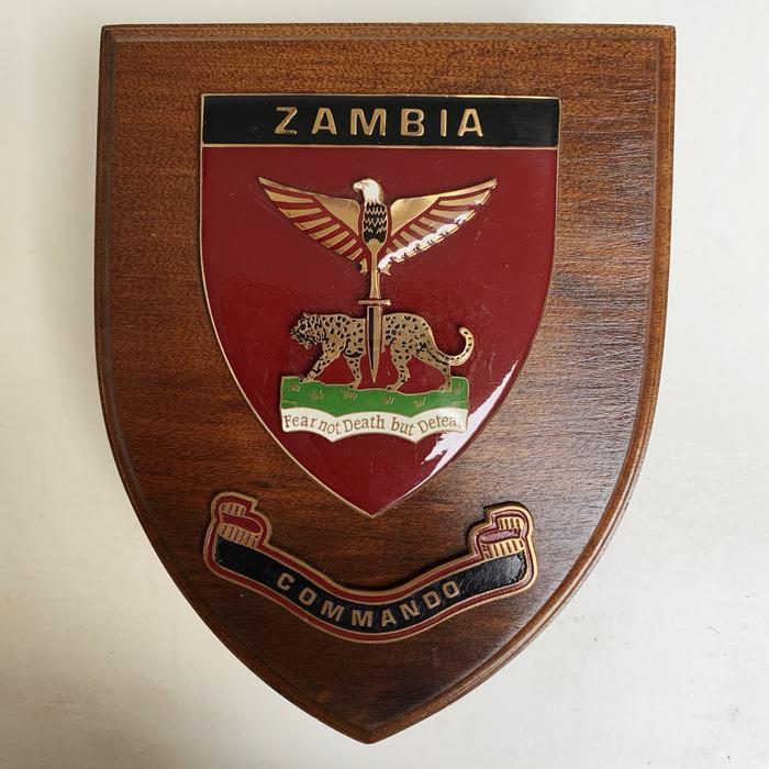 ZAMBIA Africa Special Forces PARA Commando Battalion Wooden Shield Plaque