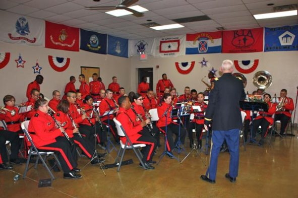 Band in red uniform