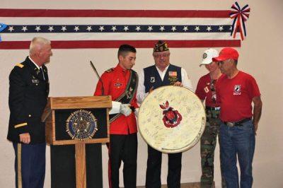 Veterans with cermonia drum signed