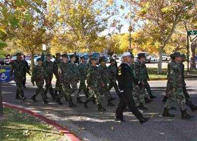 Military marching in parade