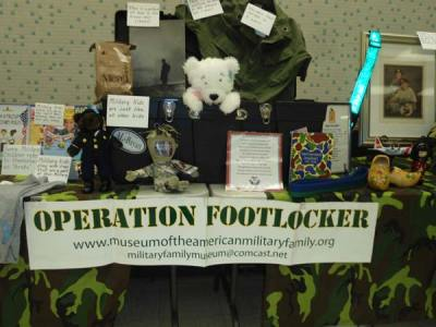 Operation Footlocker table with items