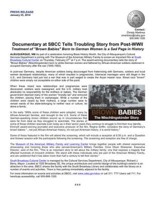 Press Release: Documentary at SBCC Tells Troubling Story from Post-WWII