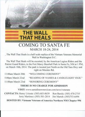 The Wall That Heals Coming to Santa Fe Poster
