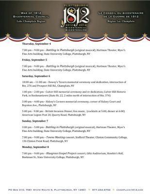 Plattsburgh Bicentennnial Schedule September 4 - September 8