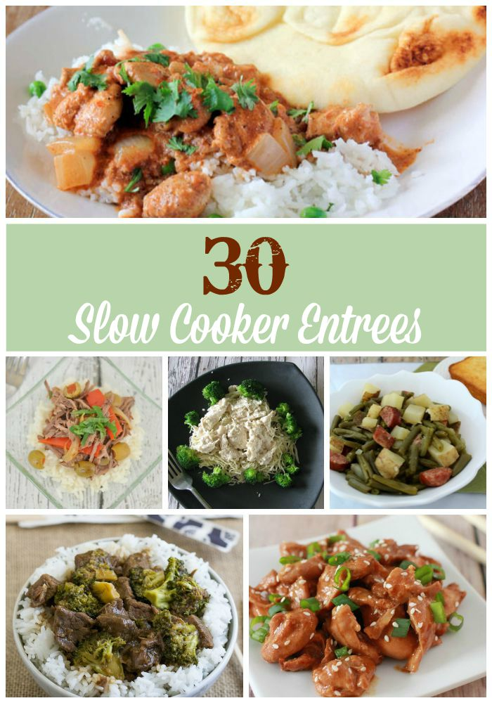 Slow Cooker Entrees Collage With Text