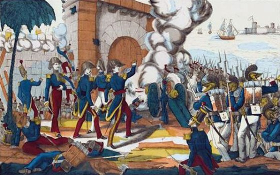 French marines storm a Mexican stronghold.