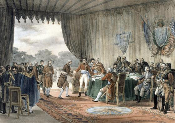 French and American diplomats negotiate the 1800 Treaty of Mortefontain. (Image source: WikiCommons)