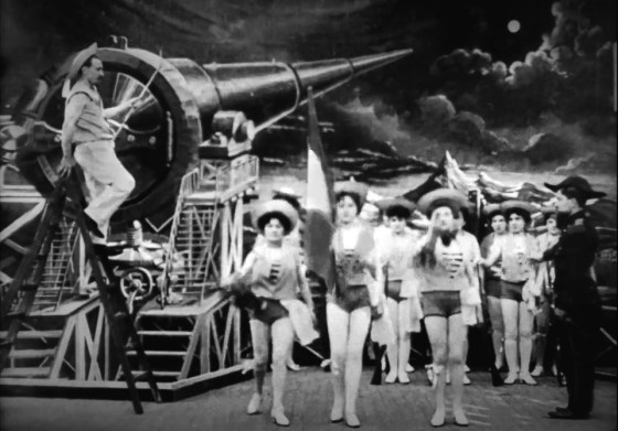 A still from the 1902 French film A Trip to the Moon. The early science fiction movie tells of a plan to shoot a giant cannon at the moon. Fifty-five years later, American and Soviet scientists would plan to do just that.