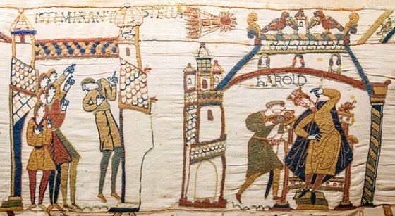 The famous Bayeux Tapestry chronicles the story of William's conquest of England. Halley's comet, which appears at the top of this segment shows how the celestial body inspired the Normans and petrified the Anglo Saxons.