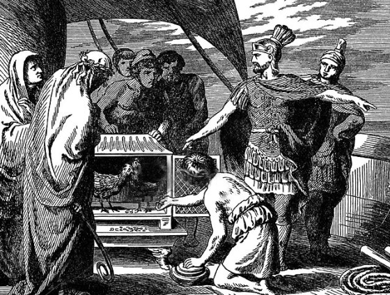 Claudius Pulcher seeks guidance from the sacred chickens before the Battle of Drepanum 249 BCE.