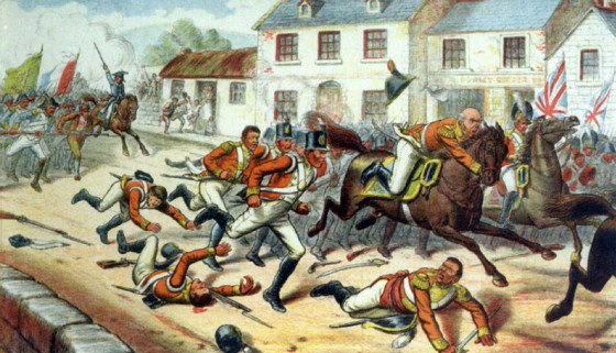 The British army breaks and runs in the face of combined force of French troops and Irish nationalists at Castlebar. Aug. 27, 1798