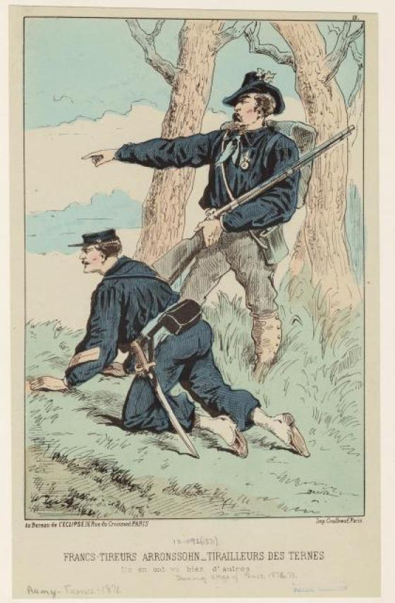 A contemporary painting of Francs tireurs in action.