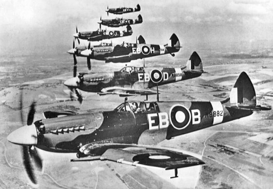 Later model Spits, like these, were widely exported after World War Two. In some cases, opposing forces in the developing world flew the warplanes against on another. (Image source: WikiCommons)