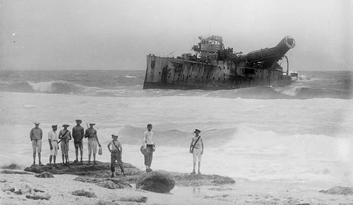 The abandoned wreck of the SMS Emden.
