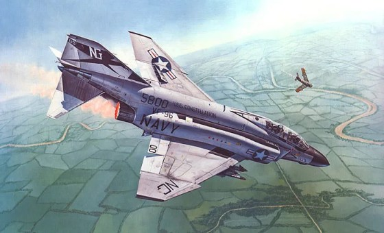 """Advantage Cunningham"" by Mark Waki is one of many paintings that immortalize Lt. Randy Cunningham's victory over the legendary and feared North Vietnamese flying ace Col. Toon. Painting used with permission of the artist."