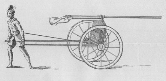 A sketch of an amusette fixed onto a carriage.